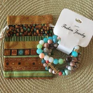 Jewelry - Multi Color Stretch Bracelet w/Drawstring Pouch
